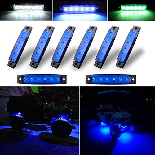 Well Cart - Botepon 8Pcs Led Rock Lights, Strip Lights, Wheel Well Lights, Led Underglow Kit for Golf Cart, Jeep Wrangler, RZR, Offroad, F150, F250, Snowmobile (Blue)