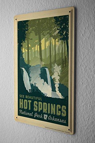Tin Sign Globetrotter National Park Hot Springs Metal Plate (Postcard Hot Springs National Park)