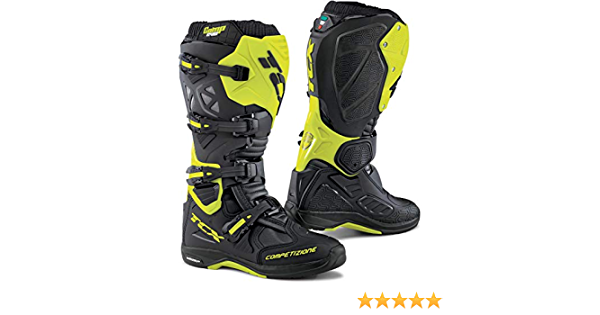 TCX Mens Comp EVO Michelin Off-Road Motorcycle Boots Black//Yellow Fluo Size 42
