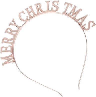 Holibanna Christmas Headband Merry Xmas Letters Hair Band Rhinestone Crown Hair Hoop Headwear for Women Girls Kids Holiday Party Hair Accessories