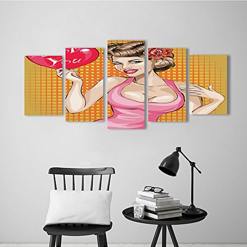 Wulian Painting Combination Frameless Valentines Day Pin up Sexy Woman Portrait with Heart Pop Art Vector Restaurant Bedroom Painting