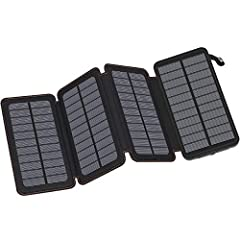 FEELLE Solar Charger with 4 Solar Panels Packing enough power to last for days, our FEELLE solar phone charger ensures you will always have a charge when you need it most.  High Capacity--25000mAh solar power bank can be used about 2 weeks a...