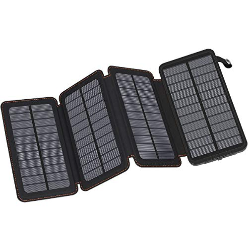 Solar Charger 25000mAh FEELLE Solar Power Bank with Dual 2.1A USB Output Portable External Battery Charger for Smart Phone, Tablet and More