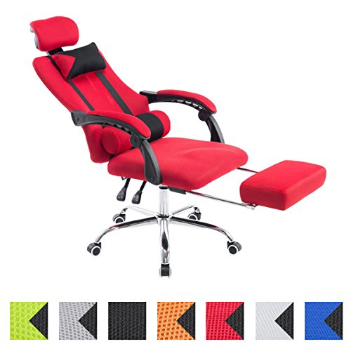 CLP Silla Racing Fellow Tapizada En Red I Silla Gaming con Soporte Metal Cromado & con Ruedas I Silla De Oficina Regulable En Altura I Color: Rojo