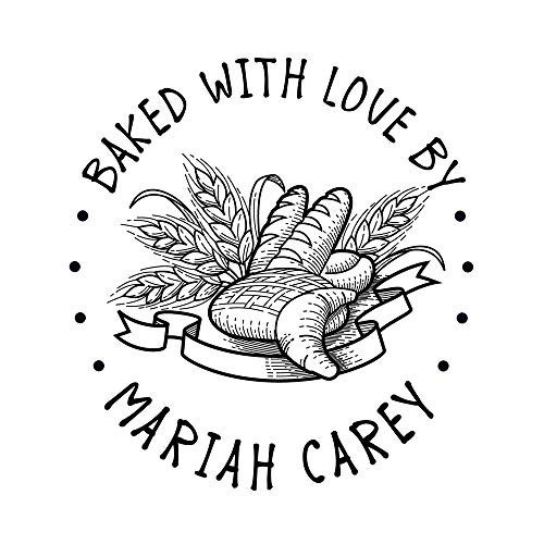 Custom Baked with Love by Stamp Self Inking Personalized Bread Kitchen Design Stamps Business Cards