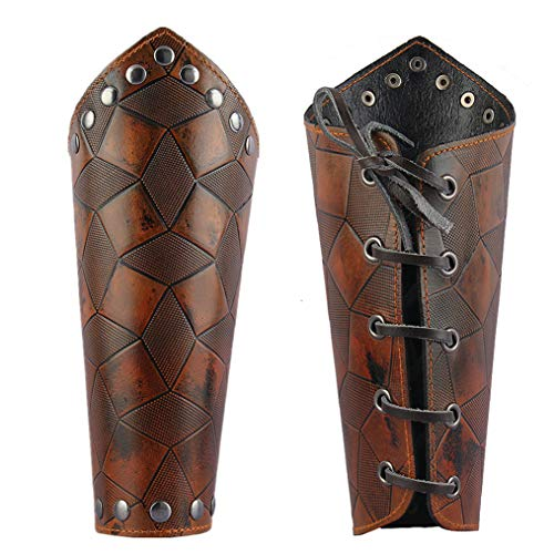 Jeilwiy Leather Armor Medieval Gauntlets Wristband Guard Punk Costume Wide Bracer Arm Cuff for Men Women ()