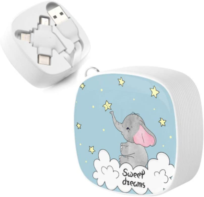 Multi Phone Charging Cable Baby Happy Cute Elephant Cartoon Multi 3 in 1 Retractable Lightning USB Charger Cable with Micro USB//Type C Compatible with Cell Phones Tablets and More