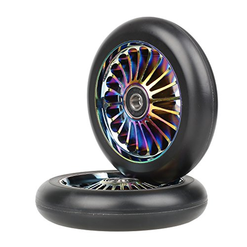 Kutrick Complete 2pcs 110mm Pro Stunt Scooter Replacement Wheels with ABEC-11 Bearing -Neo Chrome ()