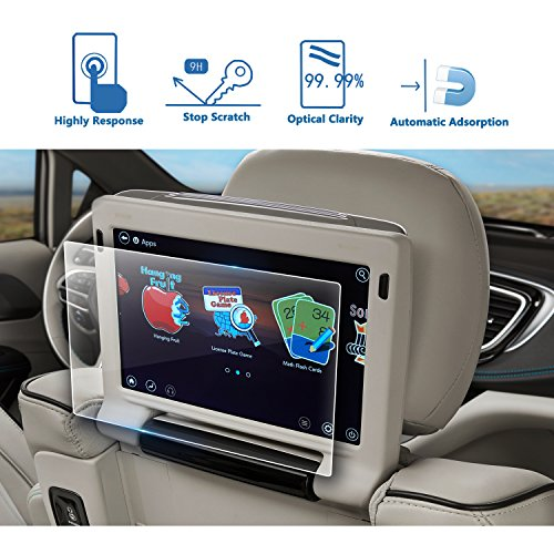 2PCS 2018 Chrysler Pacifica 10 Inch Rear Seat TV Glass Screen Protector, LFOTPP Back Seat Entertainment Headrest TV Screen Protector 9H Hardness Tempered Glass Anti Scratch (Bumper Chrysler Rear Pacifica)