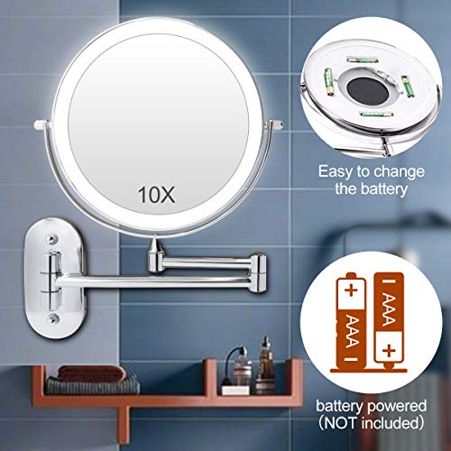Wall Mount Makeup Mirror Lighted - 8'' Double Sided Swivel Mirror LED Bathroom Mirror 1X/10X Magnifying, 3 Dimmable Color Lights, 360° Swivel Illuminated Vanity Mirror, Chrome Bathroom Shaving