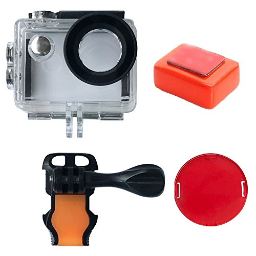 Review VVHOOY Action Camera Waterproof Housing Case with Red Filter and Floaty Sponge for AKASO EK7000/EKEN H9R/FITFORT/Mospro FT7500/LeadEdge Underwater 30M Filming Diving, Scuba and Snorkeling Accessories