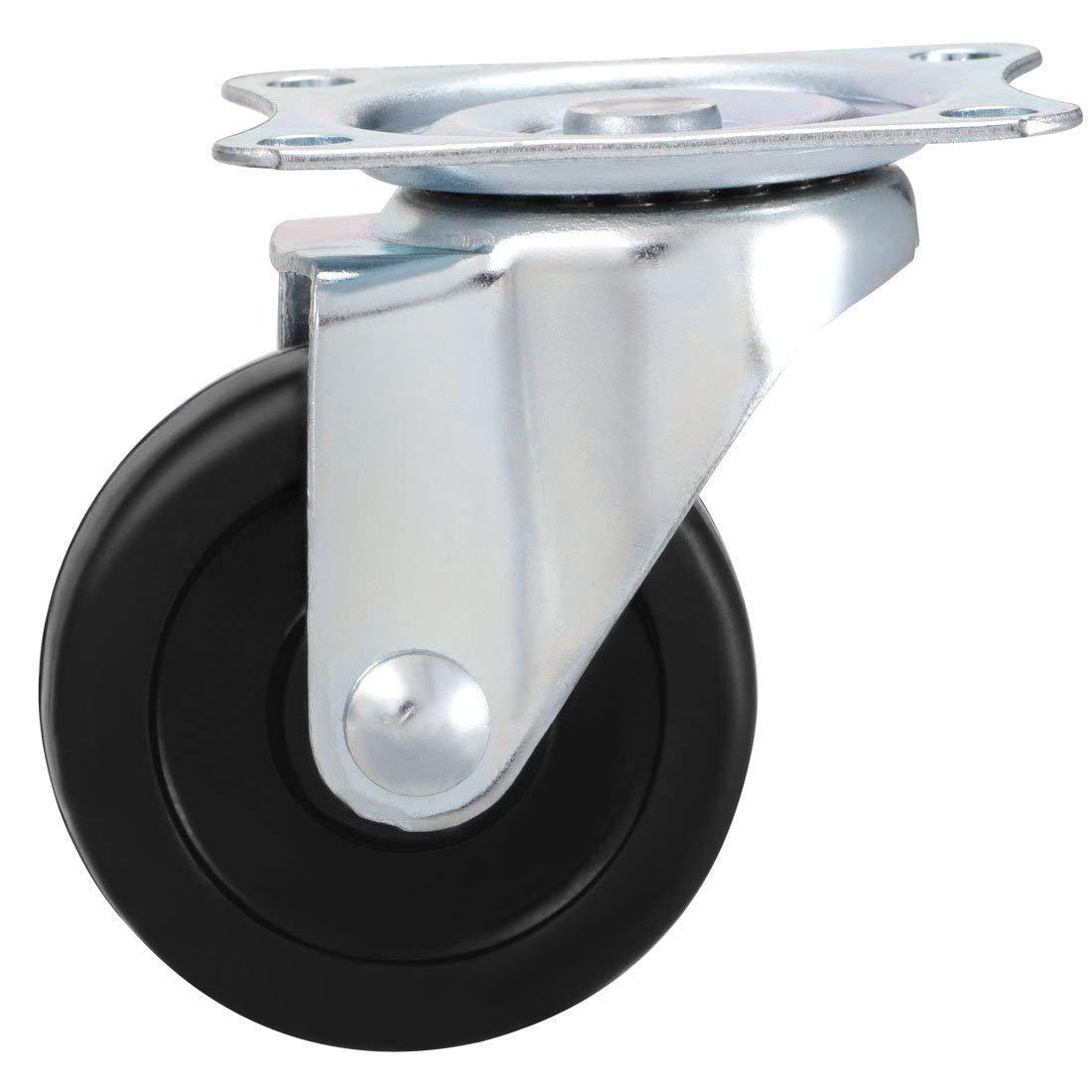 FactorDuty Swivel Caster Wheels Rubber Base with Top Plate /& Bearing Heavy Duty Pack of 24 Black 1.5 NO Brake