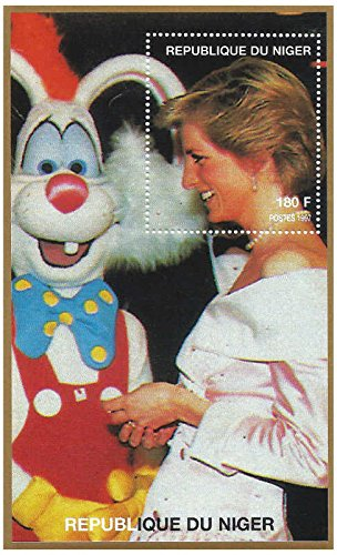 Pane Commemorative (Princess Diana Meets Roger Rabbit, Single Stamp Pane, Republic of Niger 1997)