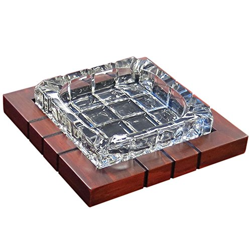 Ash Mahogany Table - Prestige Import Group - Wood & Crystal Cross-Hatched Ashtray - Color: Mahogany