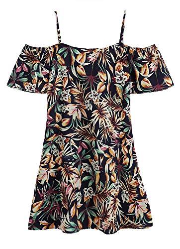 Jungle Womens Dress - Milumia Women's Random Jungle Print Striped Cold Shoulder Dress Multicolor-4 S