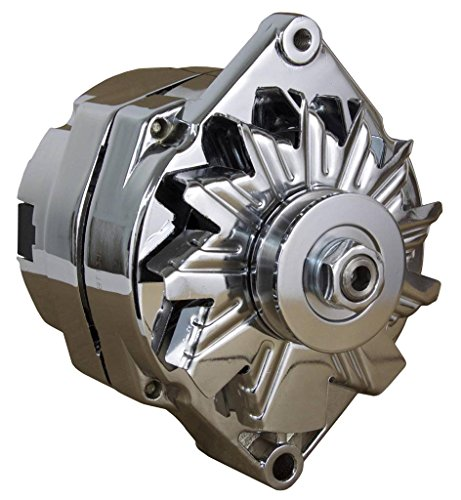 110A CHROME STREET ROD GM HIGH OUTPUT ALTERNATOR FITS 1-ONE WIRE SELF EXCITING ENERGIZING ()