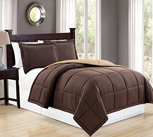 Mk Collection 3pc Full/Queen Down Alternative Comforter Set Reversible Brown/Taupe New