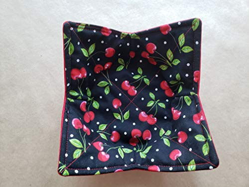 Cherries Polka Dot Microwave Bowl Cozy Vintage Inspired for sale  Delivered anywhere in USA