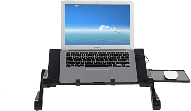 SogesHome Soporte Ajustable para portátil para Cama y sofá con Soporte Lateral extraíble para Alfombrilla de ratón y Ventilador de refrigeración, Bandeja de Cama, Mesa de pie/Sentado,NSD-JHYL-803: Amazon.es: Electrónica