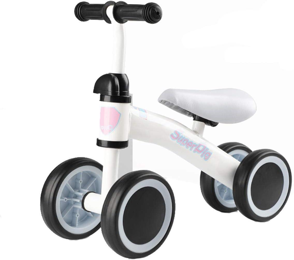 Bébé Équilibre Vélos Vélo Enfants Walker 10 Mois-24 Mois Jouets pour 1 Ans sans Pédale Infantile 4 Roues Enfant en Bas Âge Premier Anniversaire Nouvel an Cadeau, Blanc White