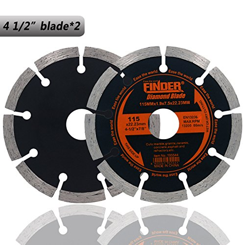 Finder General Purpose Premium Segmented Diamond Blade For Tile Brick Concrete Field Stone Masonry Materials Wet Dry Cutting (2 Pack of 4 1/2