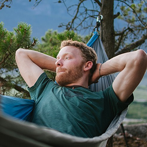 Alpha Double Camping Hammock – Lightweight Portable Rip Stop Nylon Parachute Hammock for Backpacking, Travel, Beach, Yard. Hammock Straps & Steel Carabiners Included