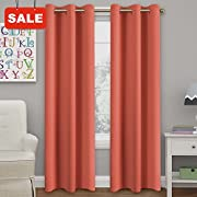Turquoize Solid Blackout drapes, Room Darkening, Coral, Themal Insulated, Grommet/Eyelet Top, Nursery/Living Room Curtains Each Panel 42  W x 84  L (Set of 2 Panels)