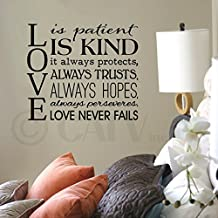 """Love Is Patient, Love Is Kind, It Always Protects... vinyl lettering wall decal (Black,16.5"""" H x 19.5"""" W)"""