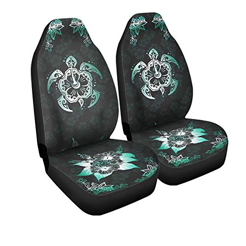 VTH Global Hawaiian Print Tribal Sea Turtles Tropical Hibiscus Flower Hawaii Car Seat Covers Set of 2 Front Bucket Seat Protector Accessories Size Universal Fit Any Cars Trucks Vans SUV