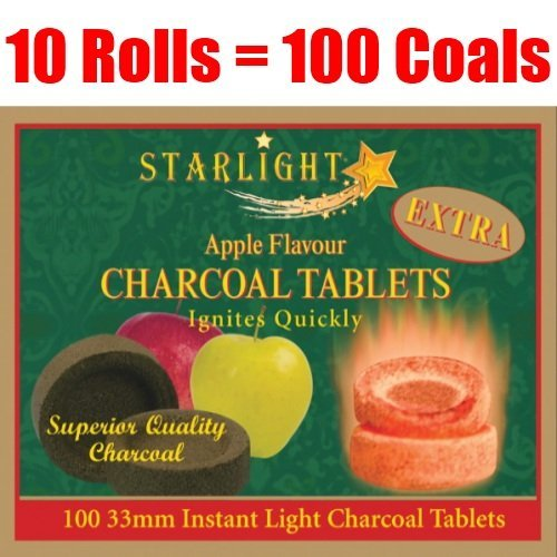 Starlight Apple Flavor Charcoal Box of 100 Quick Hookah Coals by StarLight