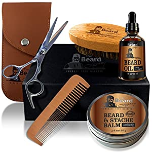 Beard Grooming & Trimming Kit for Men Care – Beard Brush, Beard Comb, Unscented Beard Oil Leave-in Conditioner, Mustache & Beard Balm Butter Wax, Barber Scissors for Styling, Shaping & Growth Gift set