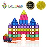 Fun Mags Magnetic Blocks 100-Piece Set 3D Magnetic Building Blocks, STEM Educational Magna Magnetic Tiles Magnet Toys for Kids, Toddlers