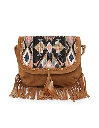 Accessorize Womens Nevada Bead and Fringe Saddle Bag