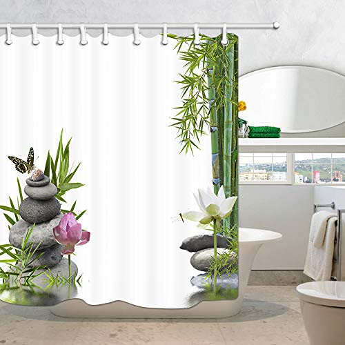 DYNH Spa Bath Curtains for Bathroom, Asian Zen Massage Stone Bamboo Butterfly Lotus Flower in Water Shower Curtain, Hippie Fabric Curtains Waterproof 69X75 in Drapes Accessories with Hooks
