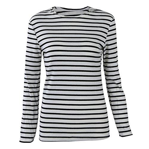 T-Shirt - SODIAL(R)Sexy Fashion Damen T-Lang aermel Streifen beilaeufige Oberseite T-Shirt Bluse Schwarz + Weiss Groesse XL