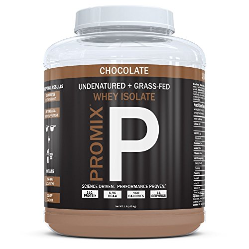Native Grass Fed Whey Protein Isolate, Chocolate | 100% Optimum All Natural | Undenatured | Non-GMO + Gluten-Free + Soy-Free | ­Best for Fitness Nutrition Shakes | Energy Smoothie | 1lb | Promix Pure