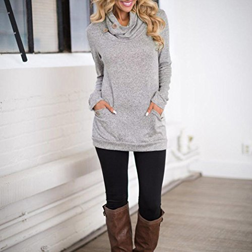 Donna velluto Teen Girl T shirt tasca Slim Spring con Button Message Grey Felpa in Angelof Tops Collo Long Hood p5qqg