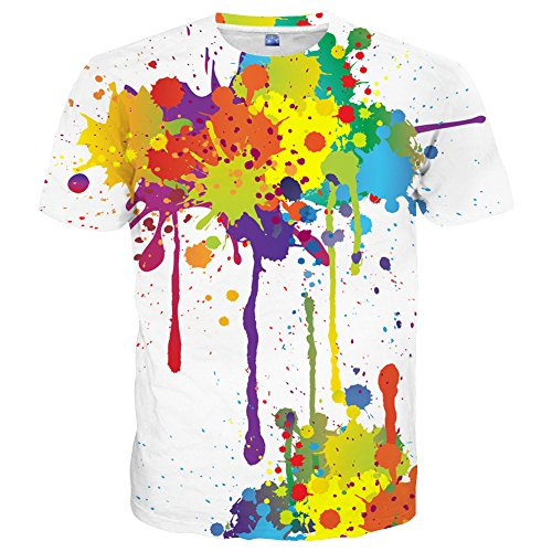 Yasswete Mens Womens Colorful Paint T-Shirts Unisex Top 3D Printed Short Sleeve Shirts Size XXL -