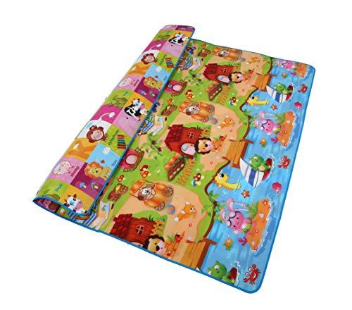 Reversible Kids Activity Mat Baby Play Mat Foam Floor Gym Non Toxic Non Slip