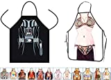 15 Styles Aslana Funny Apron for Couple - 1 Pair (2pcs) Sexy Novelty Chef Craft Apron Kitchen Cooking BBQ Party, 28'' x 22'' (Princess Leia & Darth Vader)