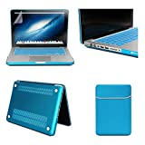 Macbook Pro 13.3-inch Case, iCrown® 4 in1 bundle Frosted Matte Rubber Coated See Through Hard Shell Skin Case Cover for Macbook Pro 13.3 inches Model A1278, with Soft Sleeve Bag and TPU Keyboard Protector and Clear Screen Protector, 2014 New Arrival (Non- Retina),Light blue