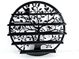 FixtureDisplays Wall Mounted 5 Tier Nail Polish Rack Holder, Tree Silhouette Round Metal Salon Wall Art Display, Black 16785