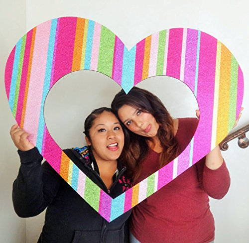 1 Pc Photo Booth Party Props No Sticks Attached Valentines Day Heart Frame Cute MDF Frame Red and Pink by picwrap (Image #1)