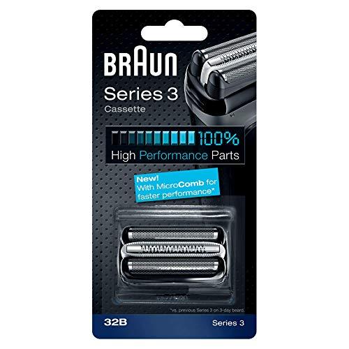 Braun Razor Replacement Foil & Cutter Cassette 32B Series 3 320 330 340 350CC Black Shaving Heads (Series Braun 340s 3)