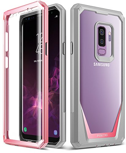 Galaxy S9 Plus Case, Poetic Guardian [Scratch Resistant Back] [360 Degree Protection]Full-Body Rugged Clear Hybrid Bumper Case with Built-in-Screen Protector for Samsung Galaxy S9 Plus Pink Front Bumper Gloss