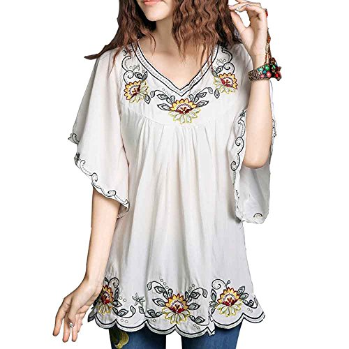 Ashir Aley Floral Embroidered Butterfly Sleeve Wrap Ruffled White Peasant Tops Mexican Blouse (M,White)