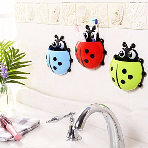 Cute Ladybug Insect Toothbrush Wall Suction Bathroom Sets Cartoon Sucker Toothbrush Holder / Suction Hooks -- BLUE