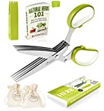 Chefast Herb Scissors Set - Premium Kitchen Shears with 5 Stainless Steel Blades - Multipurpose Herb Bags, Safety Cover with Cleaning Comb, Herbs eBook, and Stylish Box Included