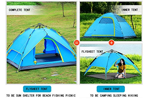 AUGYMER Waterproof 2-3 Person Camping Tents, Portable Pop Up Camping Automatic Family Tent/Backpacking Sun Shelter Tents With Carry Bag For Camping Outdoor Hiking