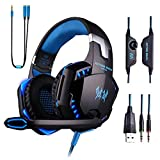 HelloPower Gaming Headset with Mic for PC,PS4,Xbox One,Over-Ear Headphones with Volume Control LED Light Cool Style Stereo,Noise Reduction for Laptops,Smartphone,Computer